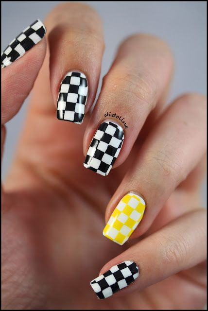 Black With Yellow Accent Checkered Nails Over White Base