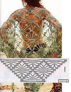 Graficos y Crochet: chal verde