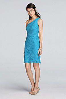 Short One Shoulder All-Over Lace Dress F19054