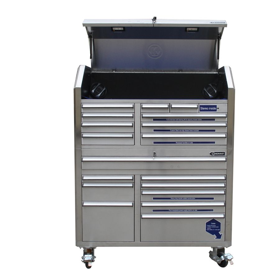 Kobalt Tool Cabinet >> Shop Kobalt 18 Drawer 53 In Stainless Steel Tool Chest At Lowes Com
