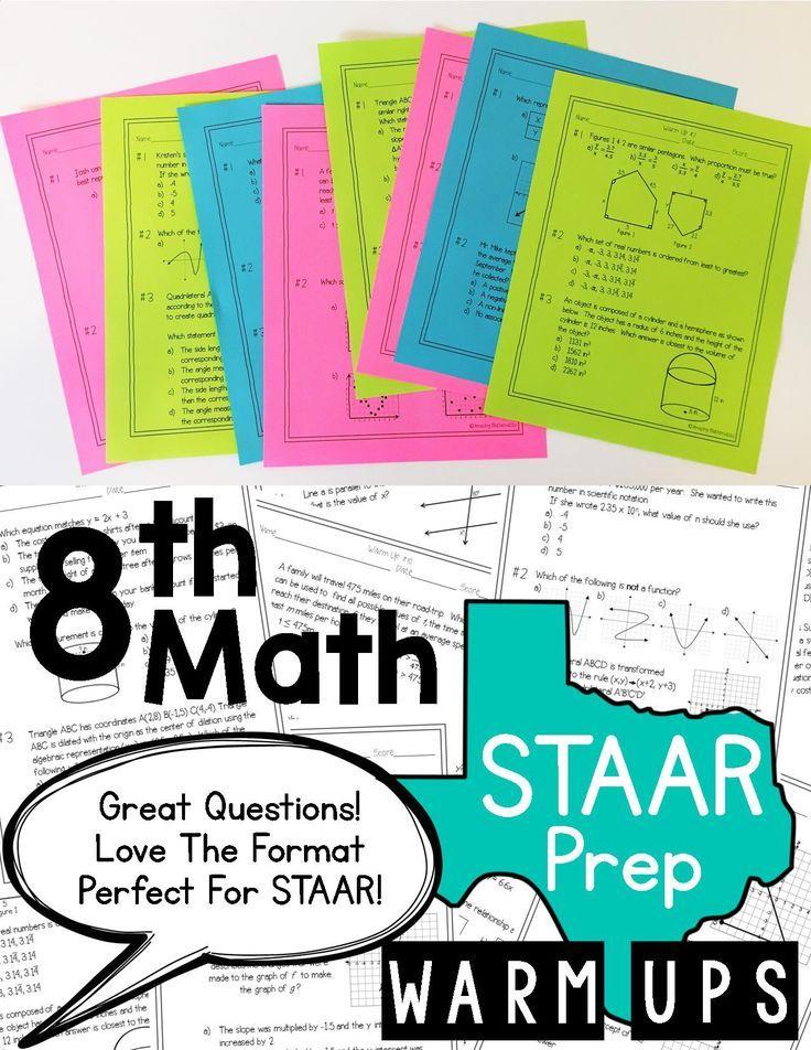 8th Grade Math Warm Ups - STAAR Prep | Texas staar test, Staar test ...