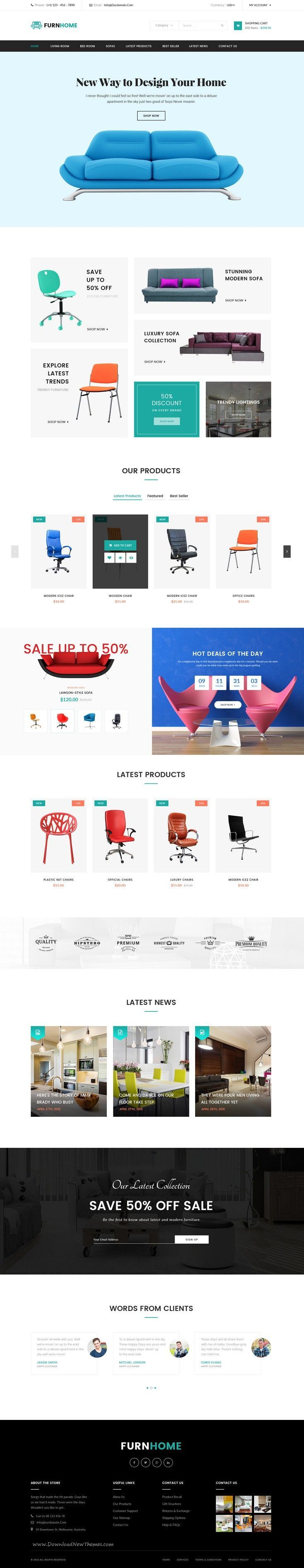 furnhome is beautiful ecommerce psd template for furniture shop online website - Beautiful Furniture Websites