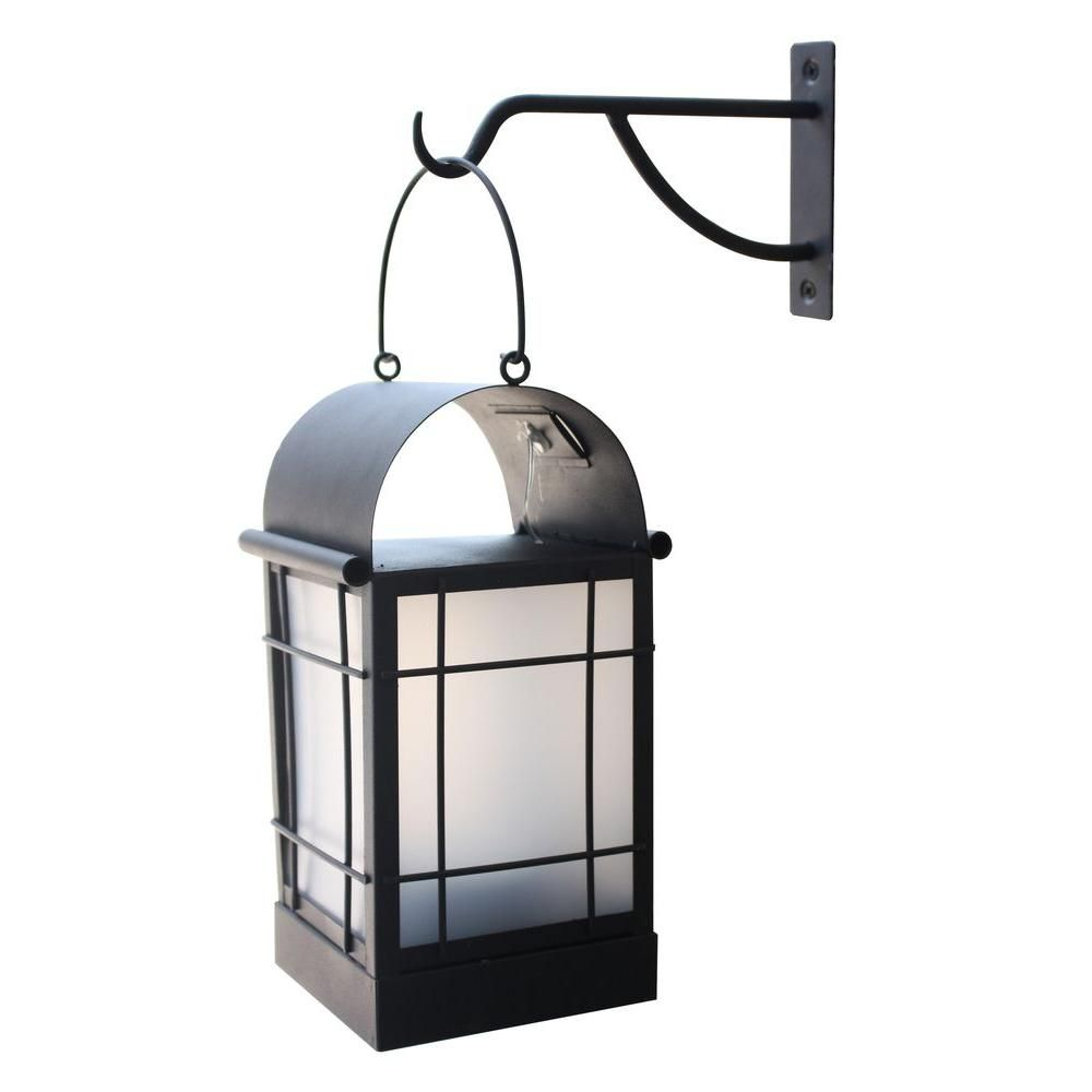 Moonrays 11 In Outdoor Metal Solar Powered Led Arched Lantern 91176 The Home Depot Wall Mount Lantern Decorative Hanging Lantern Solar Hanging Lanterns