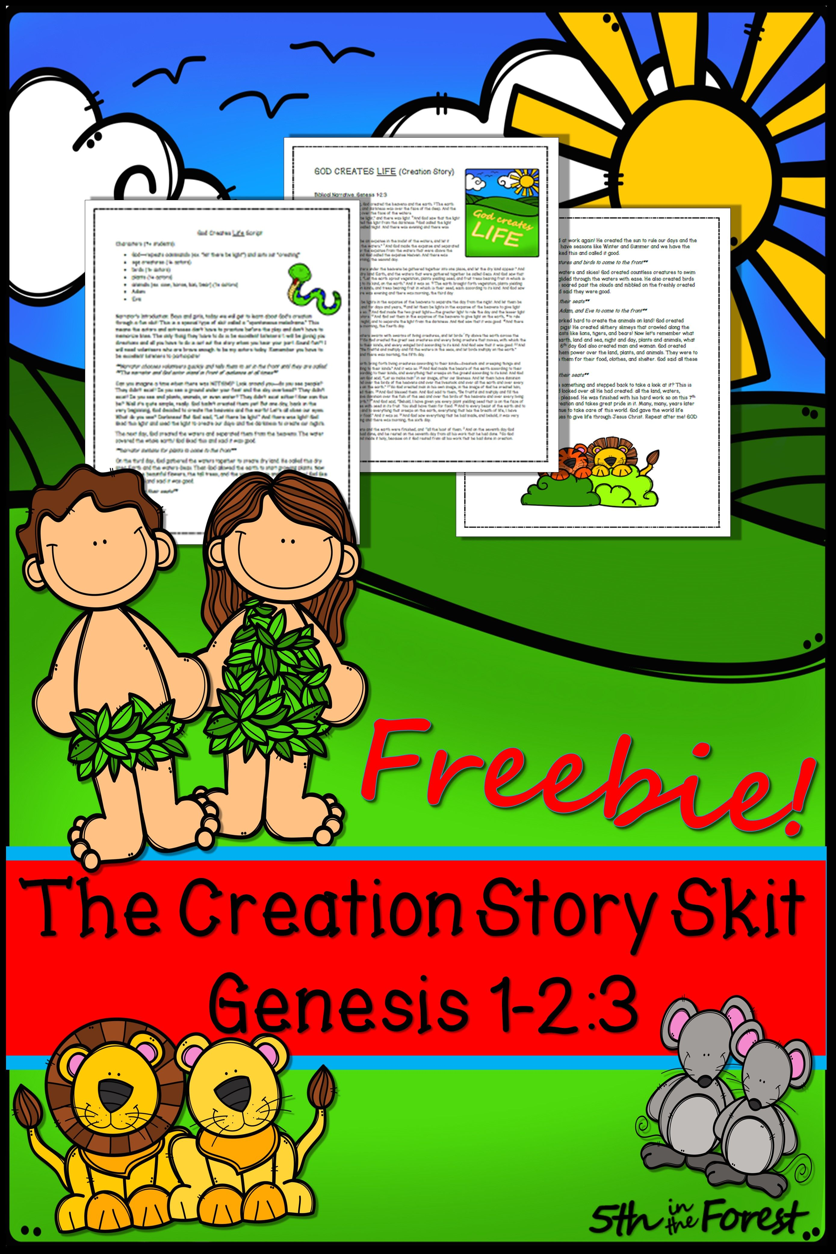 Creation Story Bible Skit FREEBIE | Primary Resources