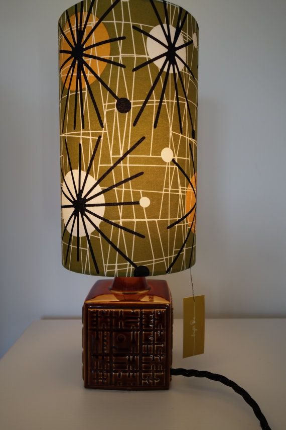 Vintage 60s poole pottery lamp base and by brightonevintagelamp items similar to poole pottery lamp base and hand rolled shade on etsy mozeypictures Images