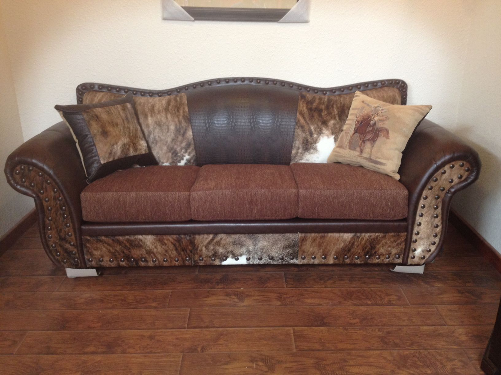 Quot Sofa Has Cowhide Bonded Leather And Fabric Cushions 94l