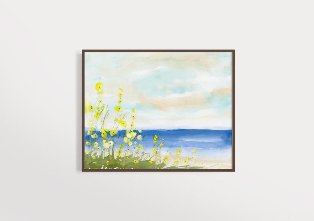 Beach Print Watercolor Seascape Art Landscape Art Etsy In 2020 Landscape Art Modern Art Prints Seascape Art