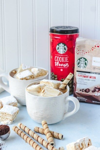 Starbucks® Peppermint Mocha Flavored Coffee with Homemade Salted Caramel Marshmallows #flavoredmarshmallows Starbucks® Peppermint Mocha Flavored Coffee with Homemade Salted Caramel Marshmallows - Baked Ambrosia #flavoredmarshmallows