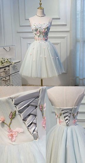 Short Grey Homecoming Prom Dresses With Flower Lace Up Mini Fancy Homecoming