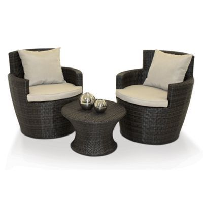 Debenhams Brown \'Boston\' outdoor stackable coffee table and 2 chairs ...