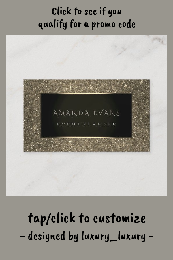Event Planner Black Frame Glitter Gold Spark Sepia Business Card Zazzle Com Beauty Business Cards Event Planning Business Event Planning Tips