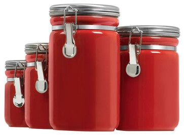 Oggi Set Of 4 E Z Grip Handle Airtight Ceramic Canisters Handles Red New