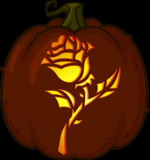 pumpkin template rose  Enchanted Rose pumpkin pattern in 6 | Pumpkin carving ...