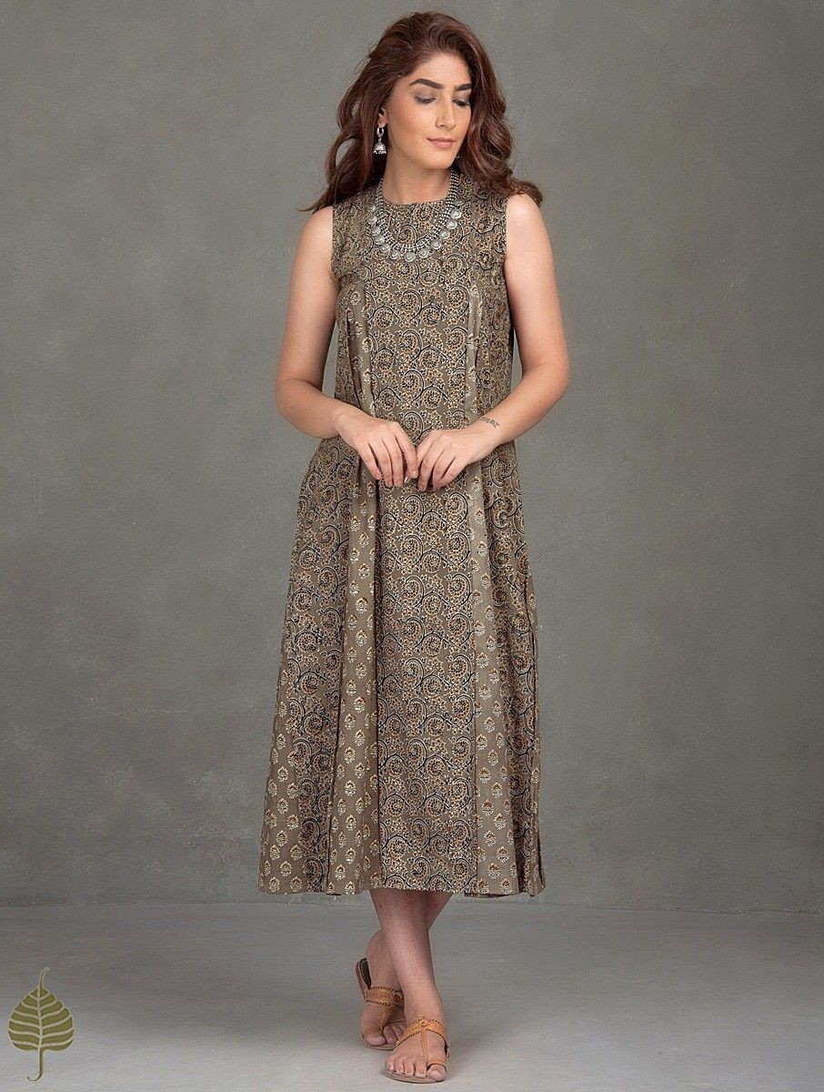 Buy Brown Madder Black Ajrak Printed Pleated Cotton Dress The ...