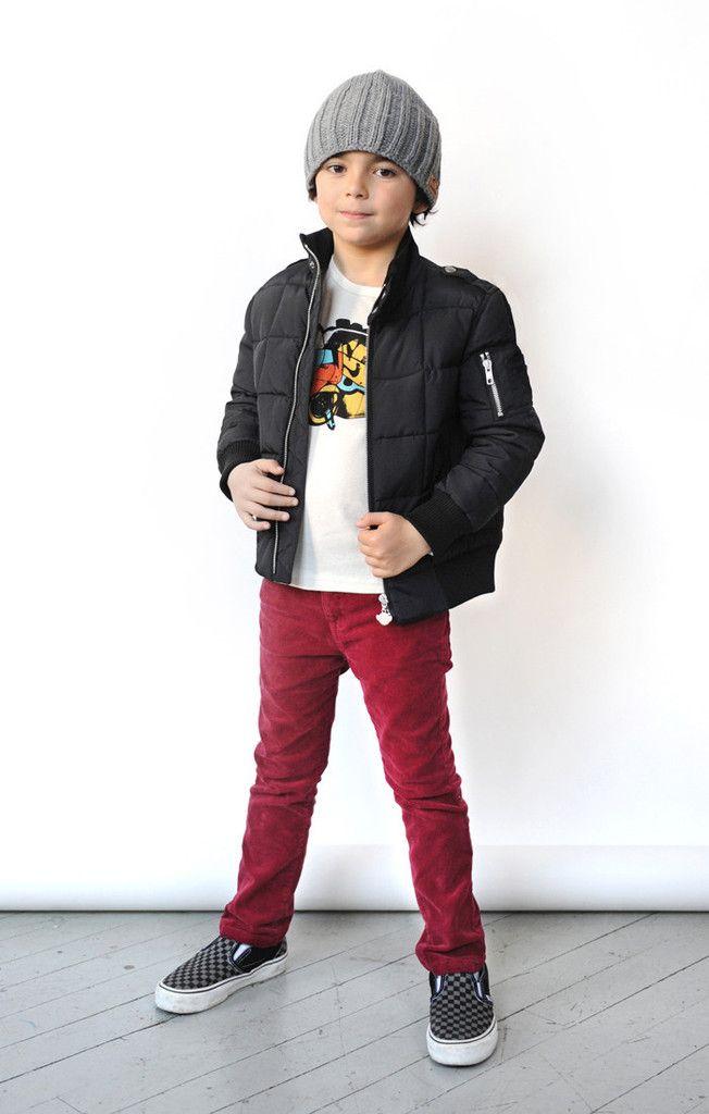 f834e44f3609 boy model in Appaman maroon skinny corduroy pants