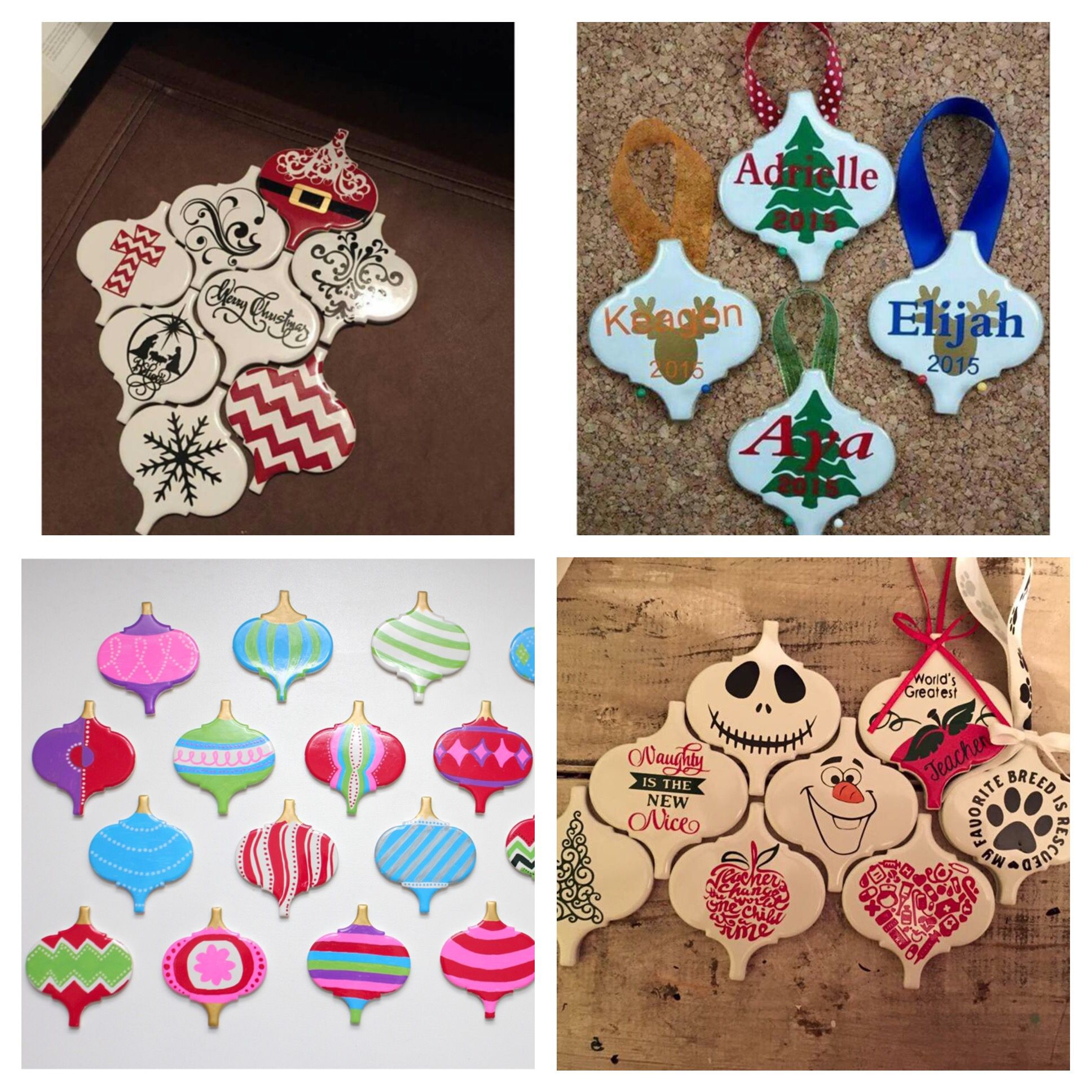 Lowes Tile Ornaments Christmas Ornament Crafts Diy Christmas Ornaments Vinyl Ornaments