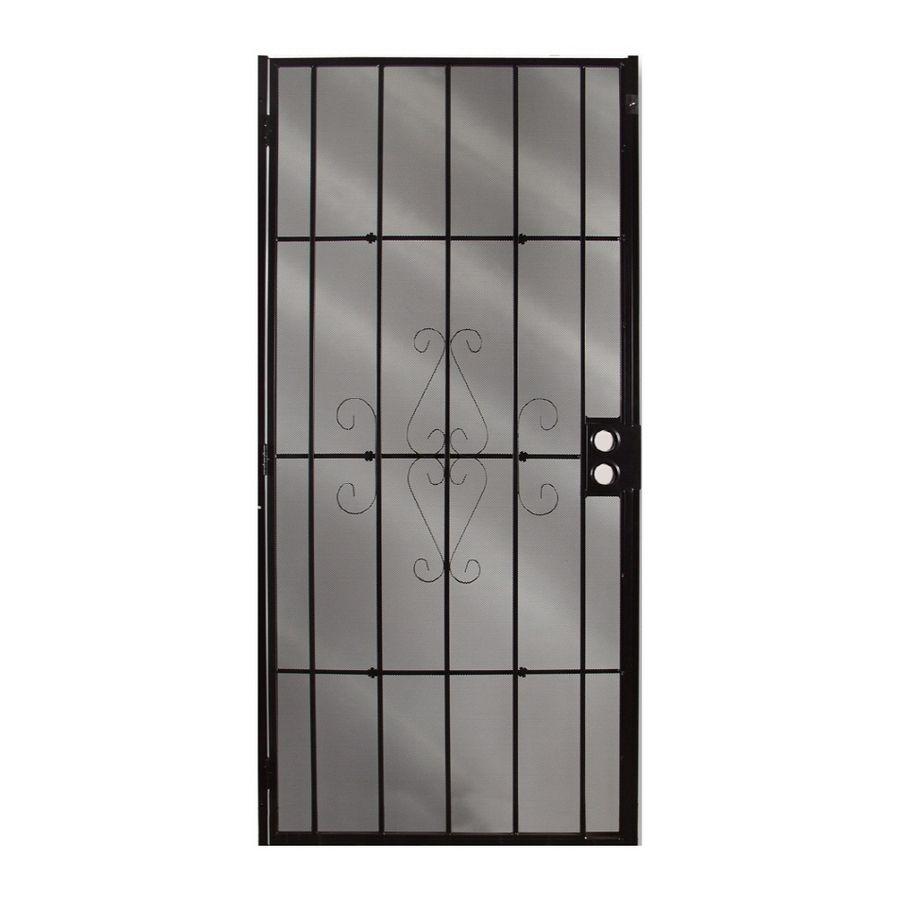 Gatehouse Magnum 36 In X 81 In Black Steel Surface Mount Single Door Security Door Lowes Com In 2020 Security Door Security Screen Door Metal Screen