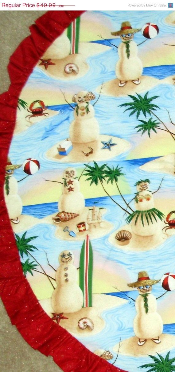 Christmas Tree skirts, Beach, Ocean, Snowman, Snowwoman, Palm Trees