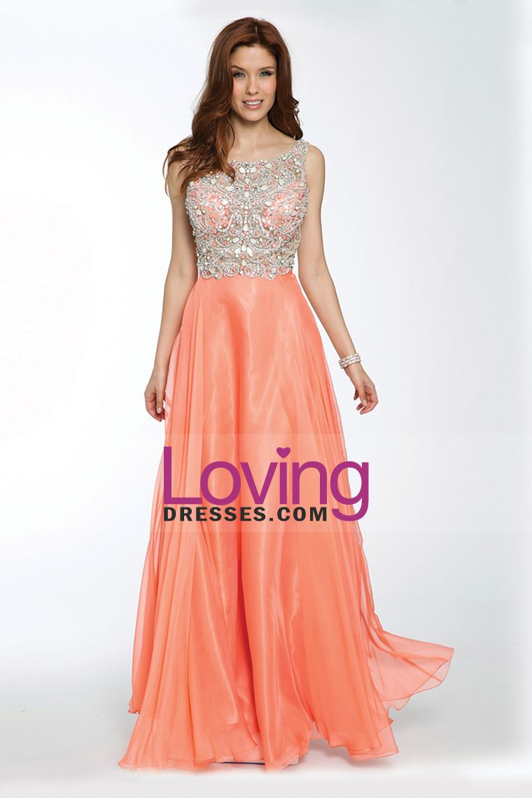 2015 Scoop Beaded Tulle Bodice A-Line Prom Dresses Chiffon ...