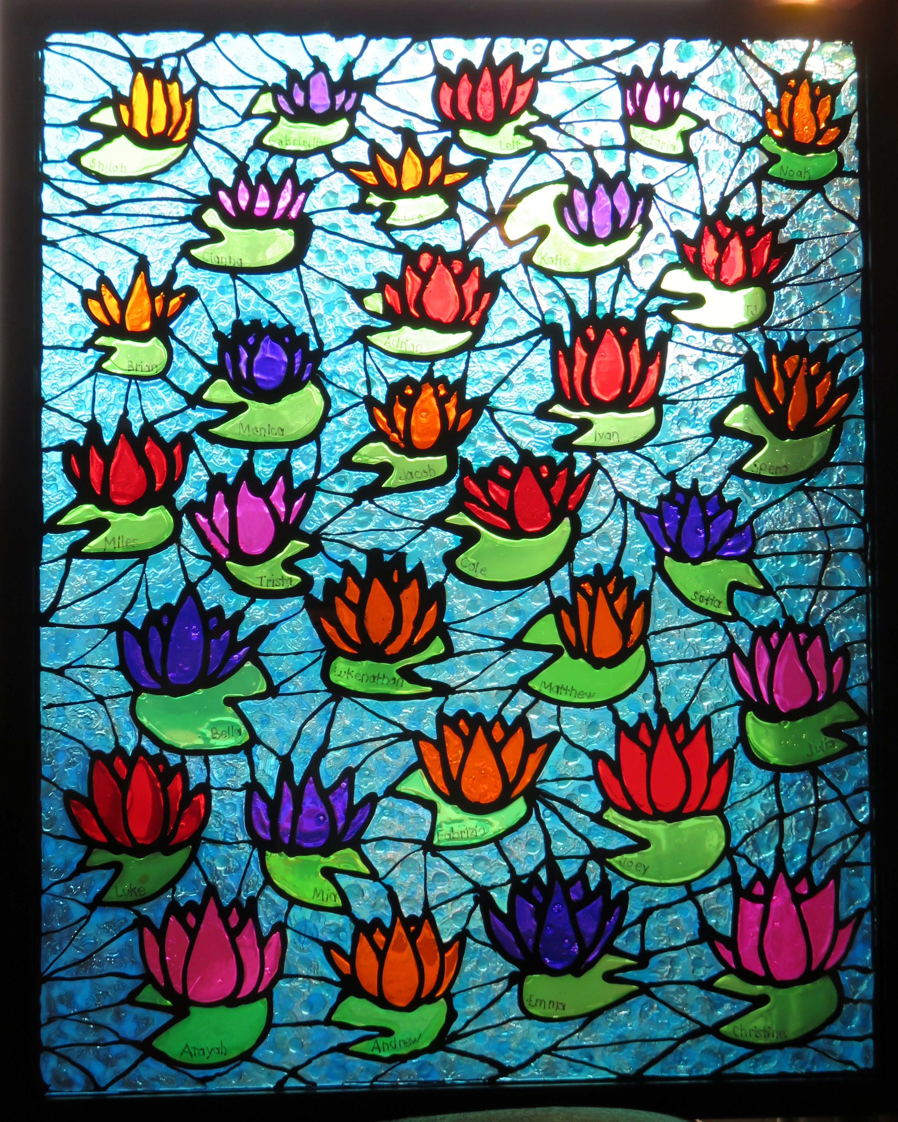 7th Graders Puffy Paint On Glass And Then Filled In With Stain Glass Paint Mosaic Art Projects Stained Glass Paint Glass Painting