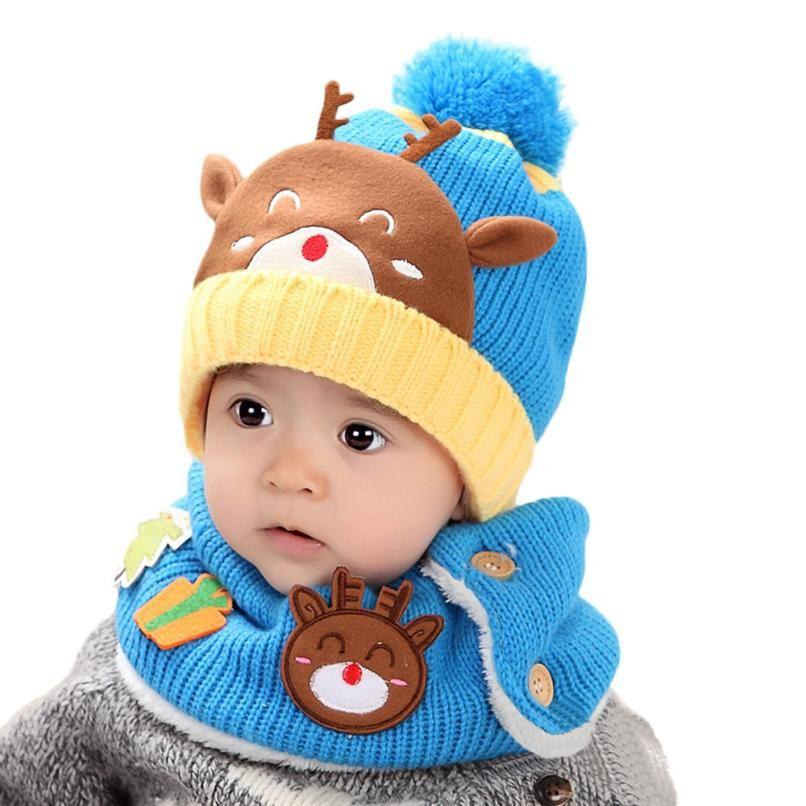 46635bc53 Boy Girl Unisex Kids Autumn Winter Warm Beanie Hat Cute Winter Baby Wool Hat  Hooded Scarf