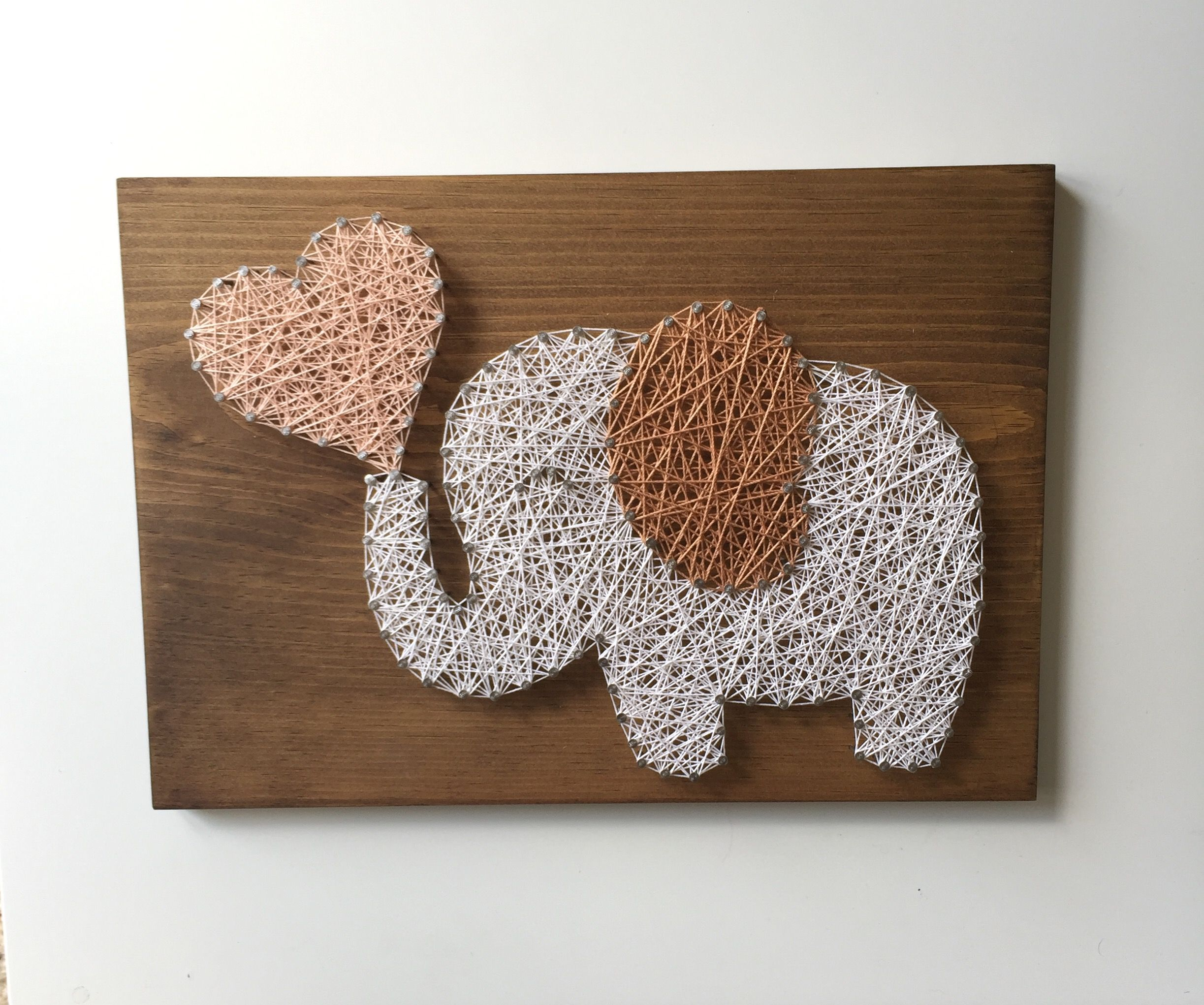 Elephant String Art - Animal Decor - Nursery Decor - Nursery Wall ...