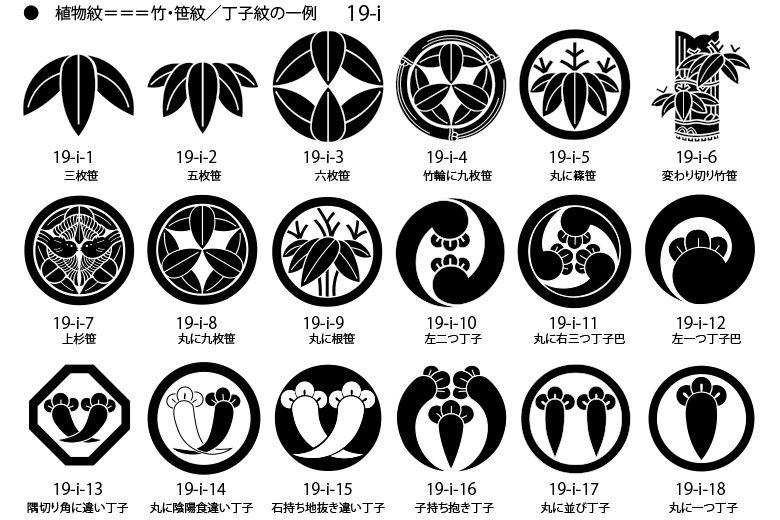 家紋 植物紋の一例 竹紋 笹紋 丁子紋 Japanese Patterns Logo