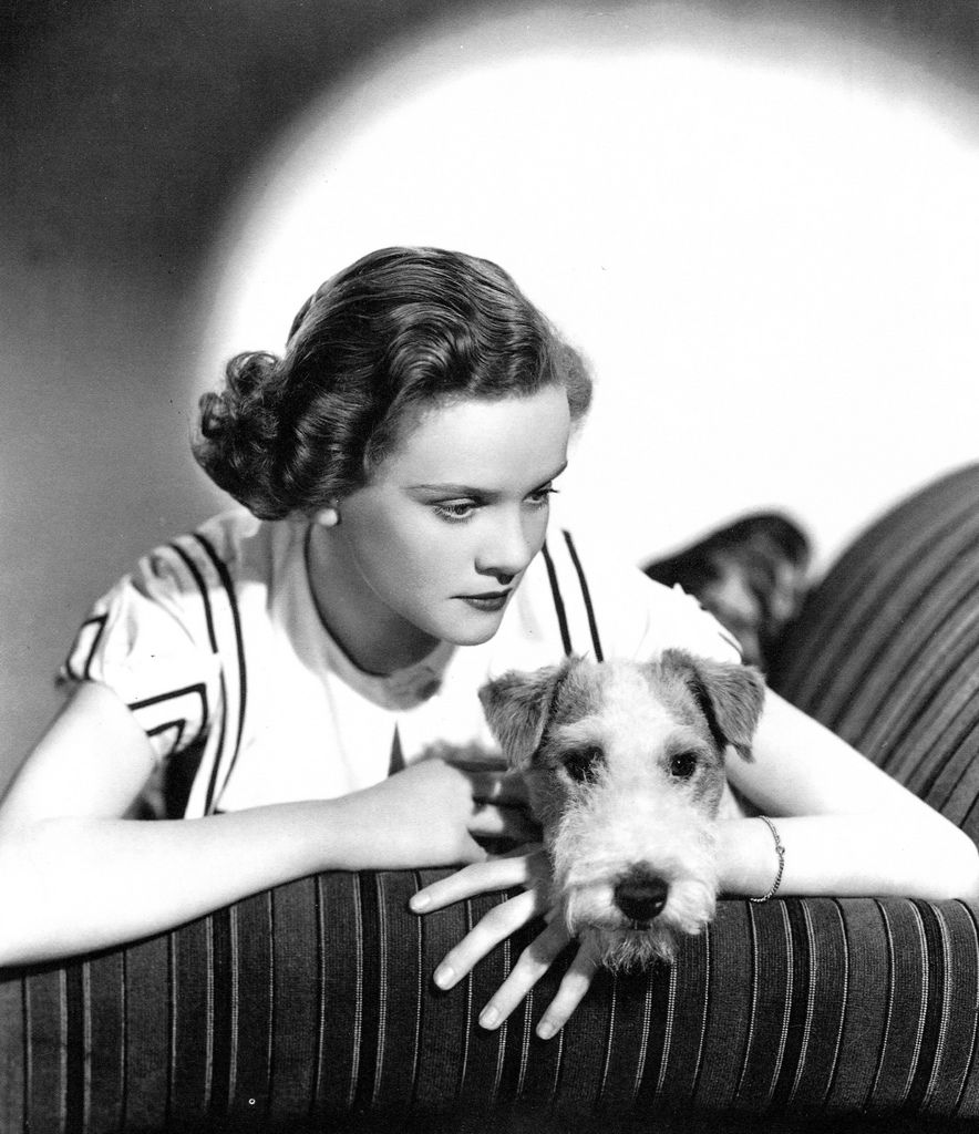 Nova Pilbeam and canine friend in Young and Innocent (1937, dir. Alfred Hitchcock)