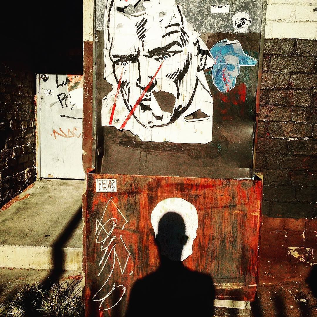 My silhouette selfie collating with an old very faded skull paste up of mine ...being watched by 2 even more vintage paste ups of urs truly .. by skullcapper