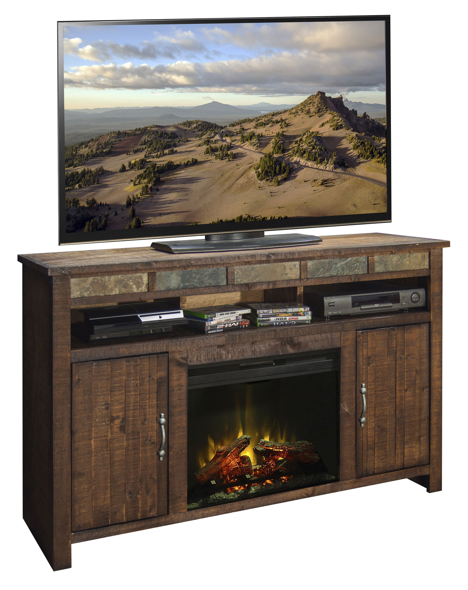 """60"""" Fireplace Console Legends Home Gallery Stores"""
