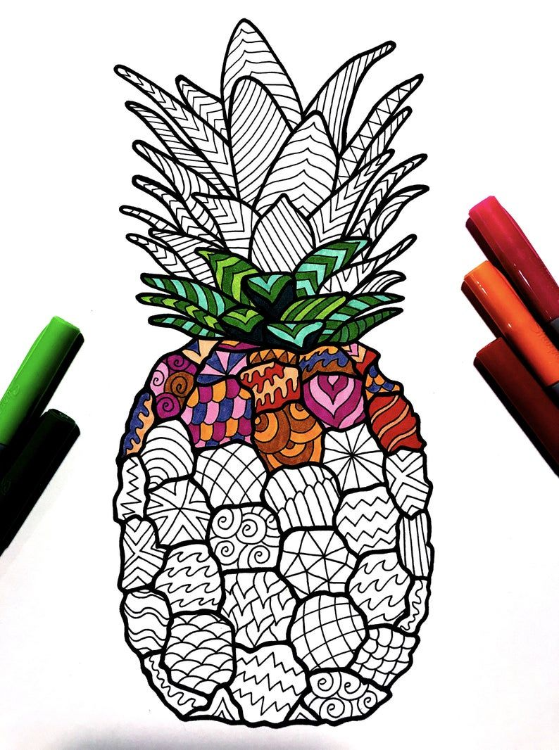 Pineapple PDF Zentangle Coloring Page Etsy in 2020