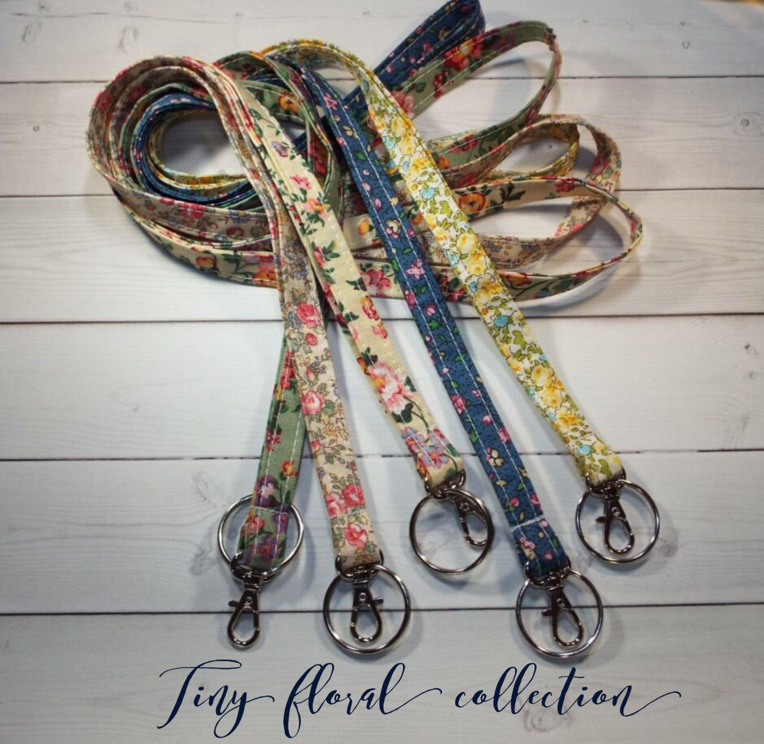 Lobster clasp and key ring New Thinner  Design vintage inspired flowers tiny flower Christmas Skinny floral Lanyard  ID Badge Holder