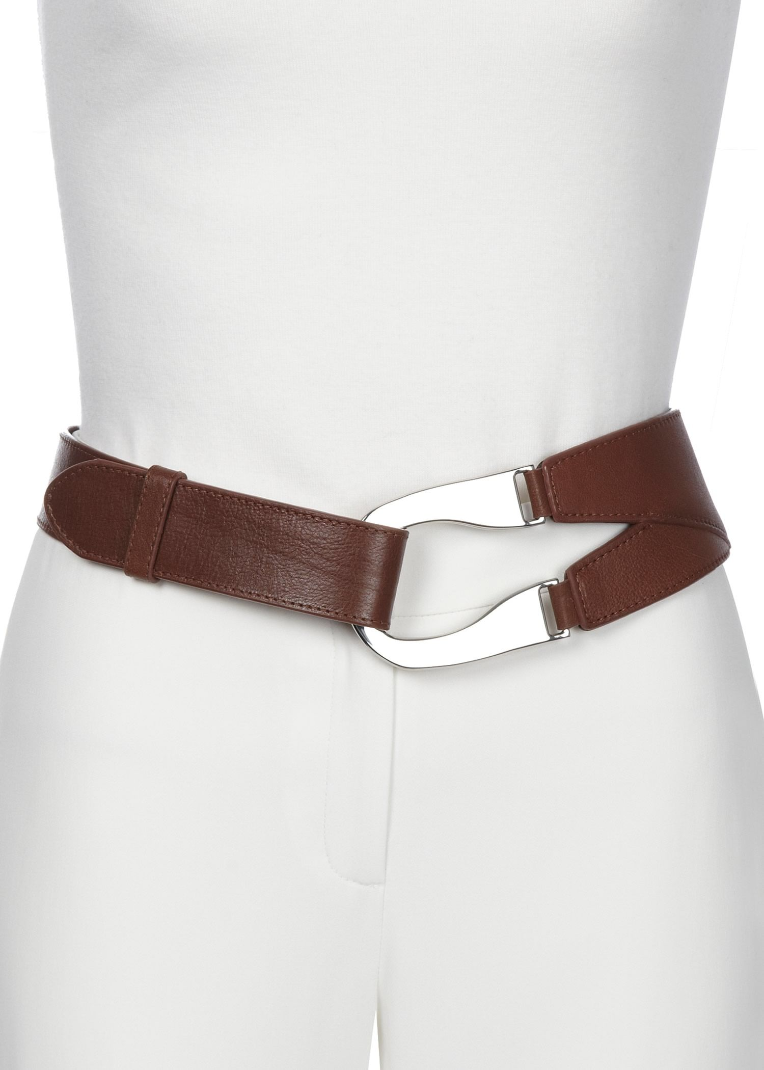 4eab59a1aa0 Plus-Size Horseshoe Buckle Leather Belt   Womens Belts   Designer Waist  Belts