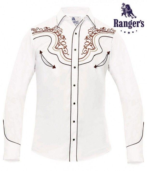 fc259d4f50b Compra esta camisa vaquera blanca de estilo charro Ranger's para hombre,  con poblados bordados en
