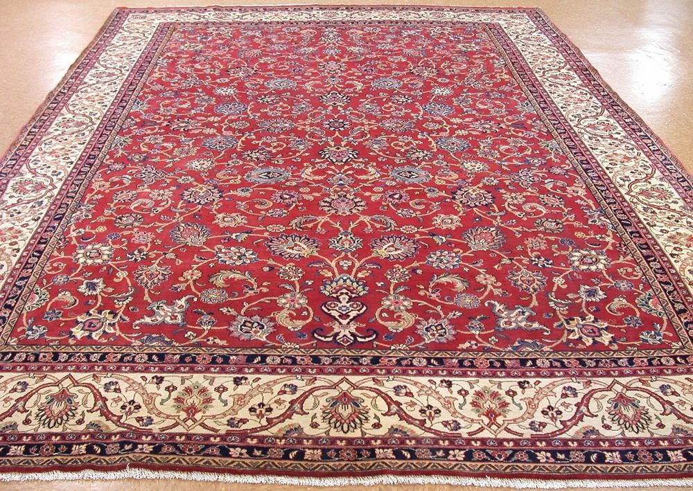 Antique Persian Sarouk Hand Knotted Wool Red Ivory Oriental Rug Carpet 10 X 14 Rugs On Carpet Rugs Oriental Rug