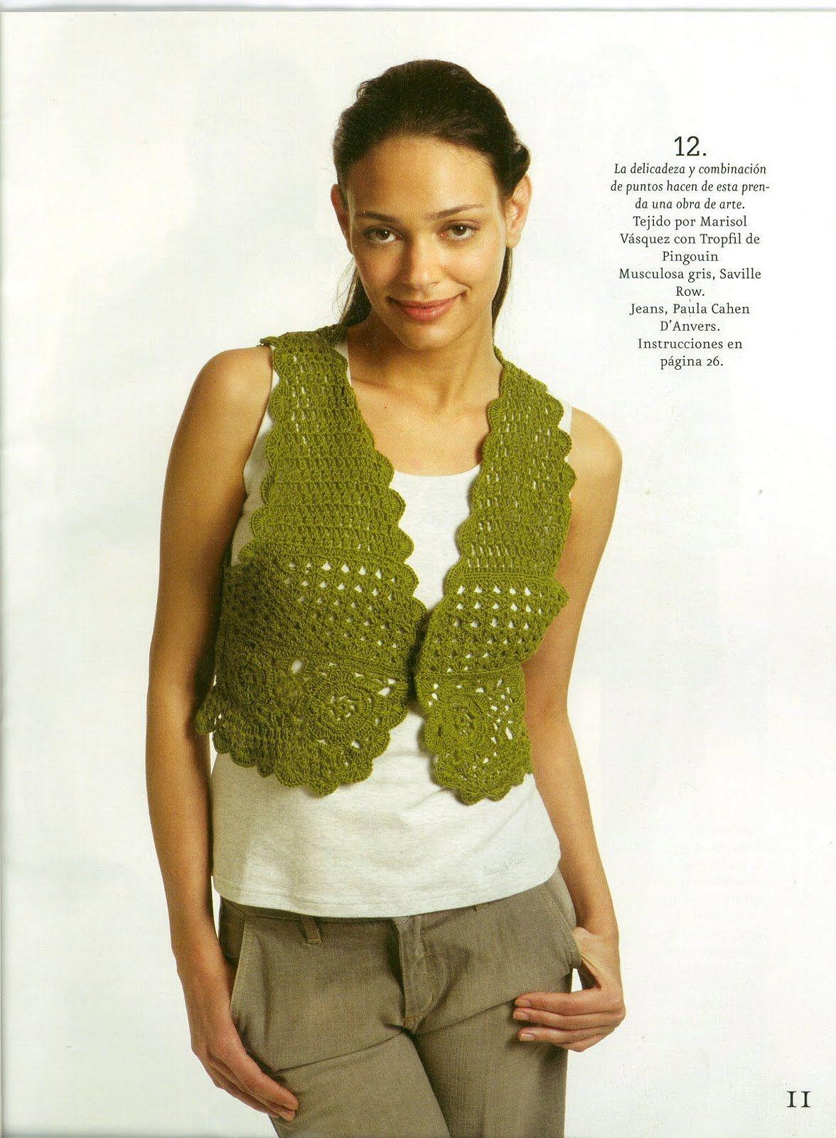 Patrones Crochet: Chaleco Verde Esperanza de Crochet | Boleros ...