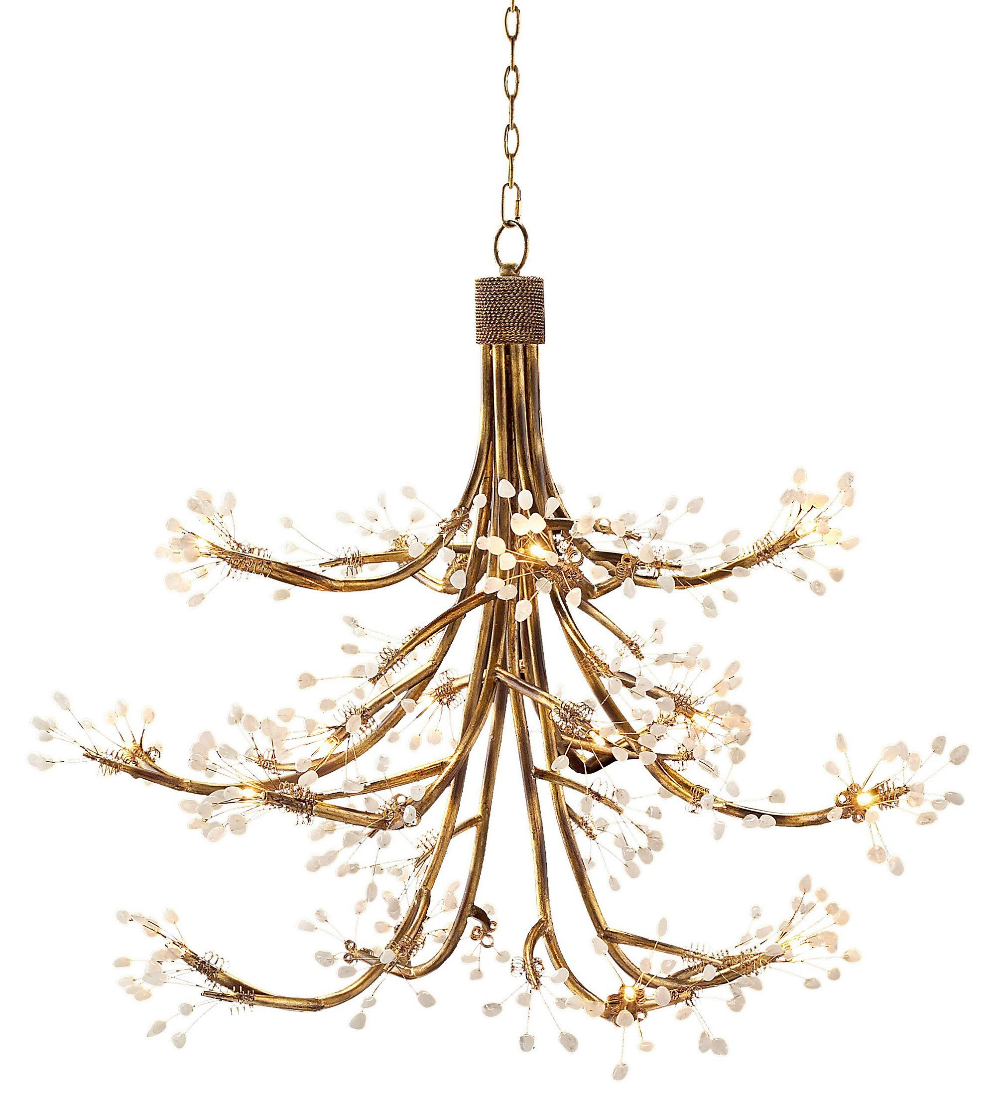The iron branches on this alluring chandelier are accented with john richard halogen chandelier gold the iron branches on this alluring chandelier are accented with flower like rock crystals evocative of a cherry tree arubaitofo Image collections