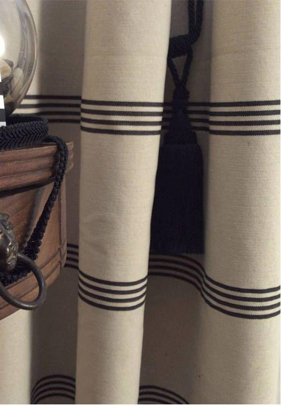 Modern Farmhouse Shower Curtain Stripe Black Ticking Tan Striped Fabric Showe