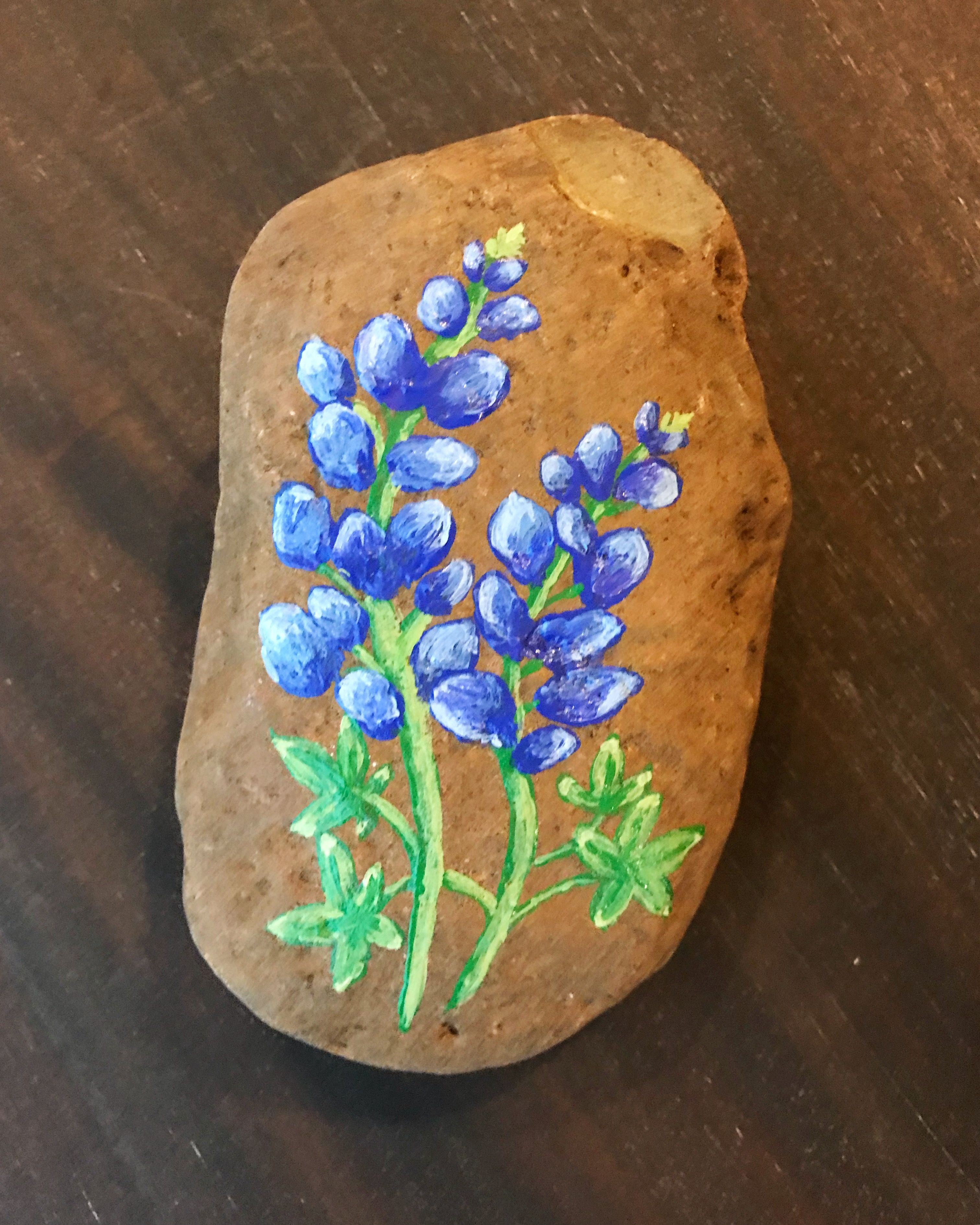 Bluebonnet Painted rock. Hand painted bluebonnets. Kindness rocks ...