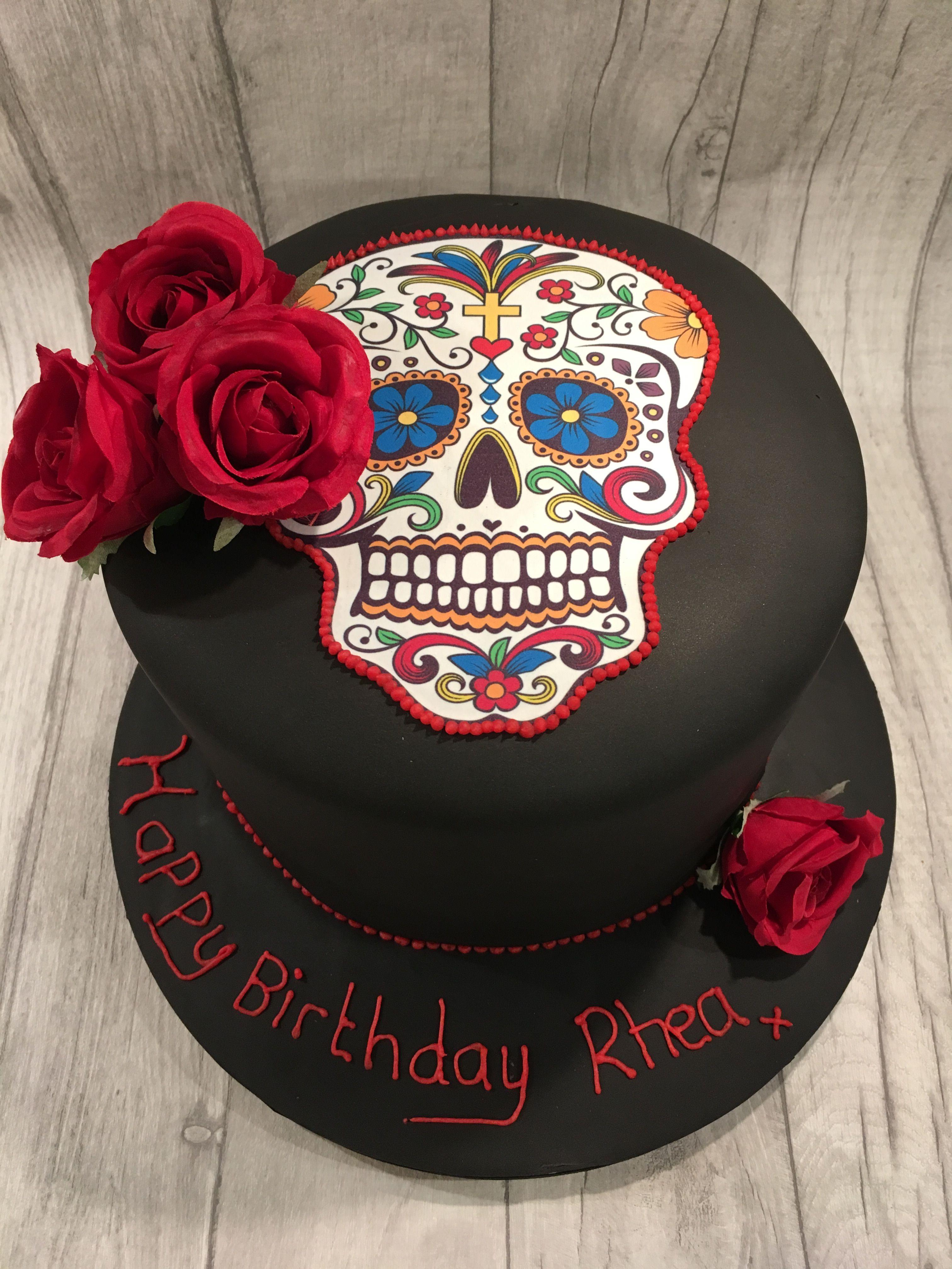 Day Of The Dead Birthday Cake Sugar Skull Birthday Day Of The