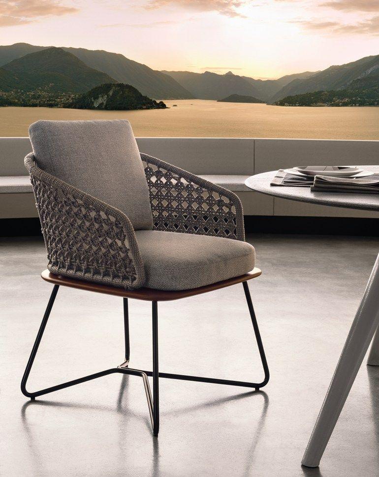 Upholstered garden chair Rivera Collection by Minotti | design Rodolfo Dordoni