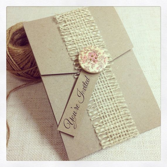 OMGosh!  How pretty!  Rustic Wedding Invitation sample button by StunningStationery, $12.00