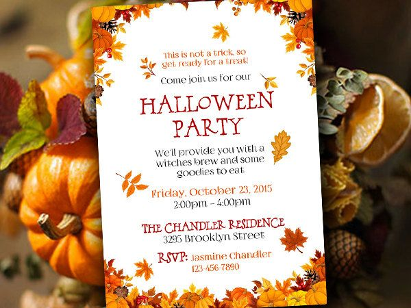Halloween Party Invitation Template Fall Party Invitation - Party invitation template: thanksgiving party invitation templates