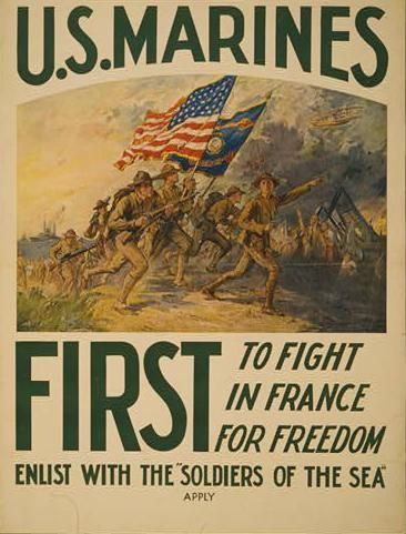 Marines Fight for Democracy! 18x24 World War I Recruiting Poster