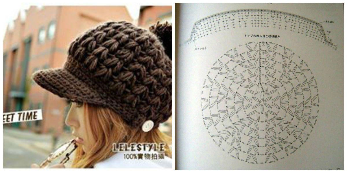 Crochet hat pattern - Visera de #ganchillo patrón | KAPE | Pinterest ...
