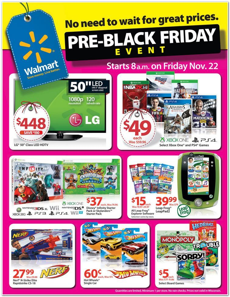 Walmarts Pre Black Friday Sale Ad Scan For 11 22 11 27 How To Shop For Free With Kathy Spencer Pre Black Friday Sales Pre Black Friday Black Friday Ads