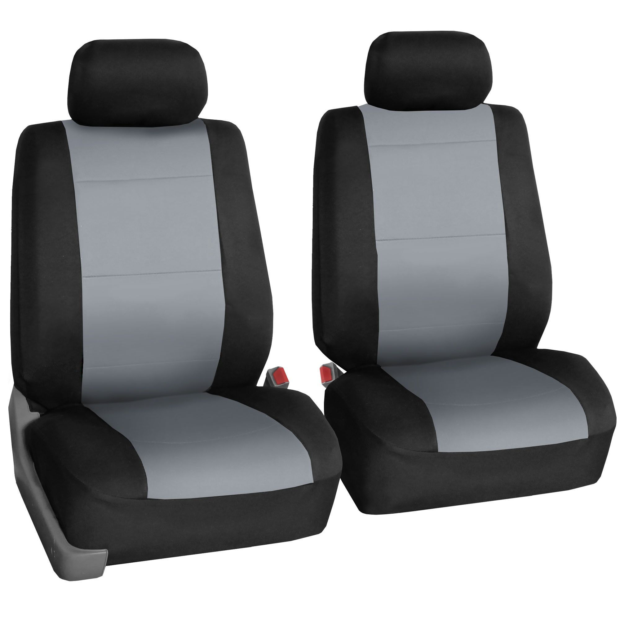 FH Group Neoprene Water Resistent Bucket Seat Covers Gray (Set of 2) Airbag Compatible (Gray), Black