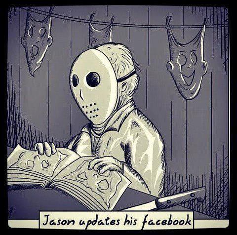 Jason updates his Facebook.