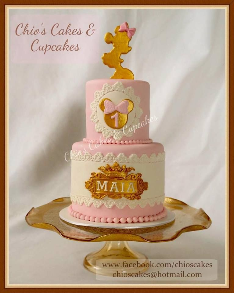 Gold Minnie Mouse Cake for First Birthday Follow me wwwfacebook