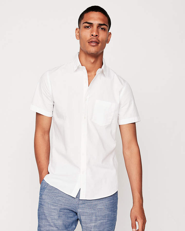 9317610513f39 Express Slim Garment Dyed Button-Down Short Sleeve Shirt